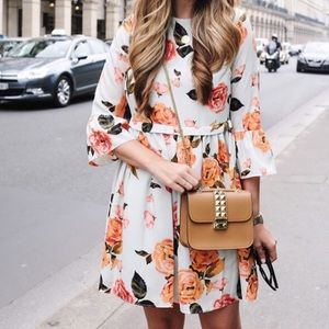 Floral bell sleeve dress with keyhole back